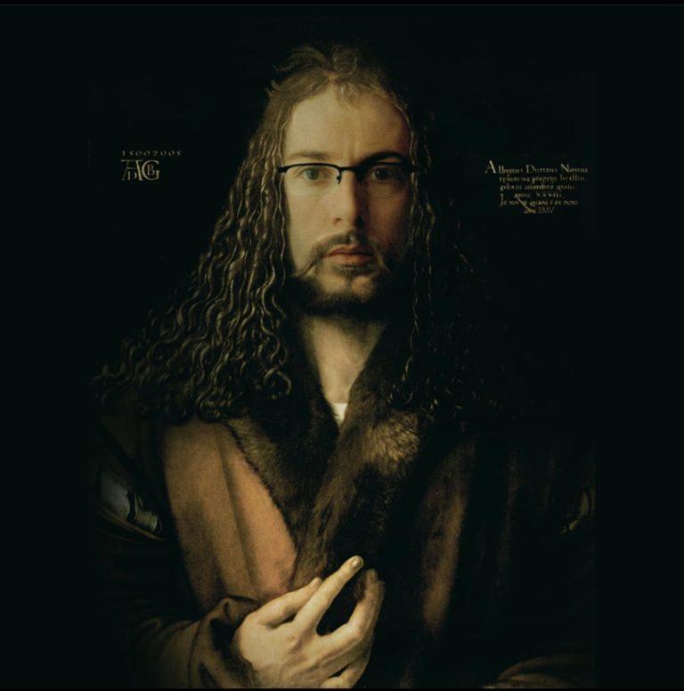 Ghyslain Bertholon Je suis né quand il est mort, 2005 D'après L'Autoportrait au col de fourrure de Dürer Technique mixte. Oeuvre unique